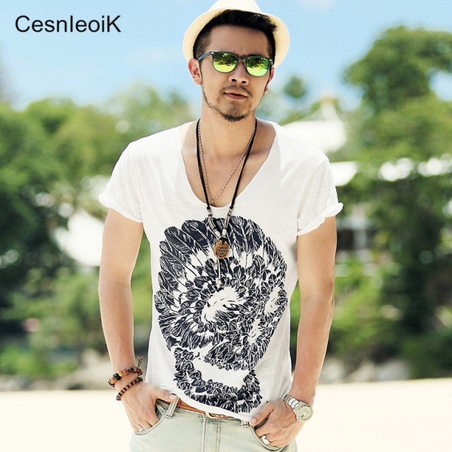 Mens Deep V Neck T Shirt Summer Green Cotton Mens Skull Print Thin Slim V Neck T-shirt Plus Size M-XXL #T99