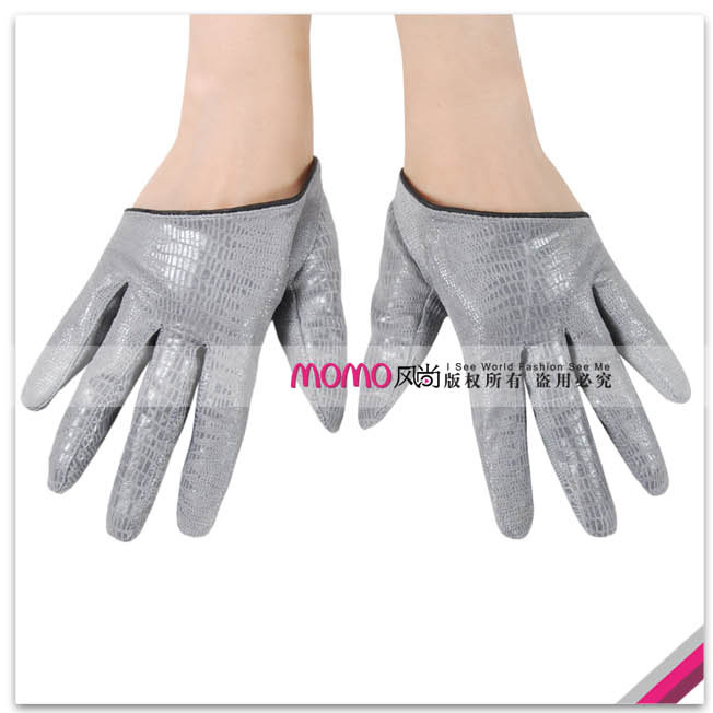 Women's sheepskin gloves grey print genuine leather gloves l005