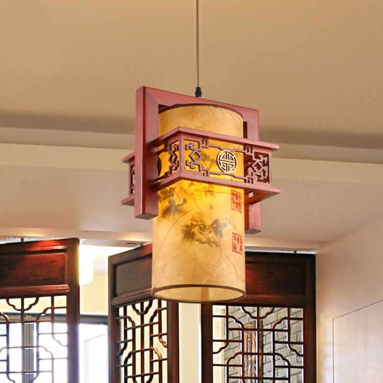 Chinese style Wooden chandelier three head Chinese restaurant classical restaurant chandelier wooden sheepskin chandelier ZS40 chandelier restaurant three head