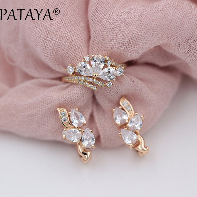 PATAYA New Exclusive 585 Rose Gold White Water Drop Natural Zirconia Jewelry Women Bohemian Party Butterfly Earrings Rings Sets