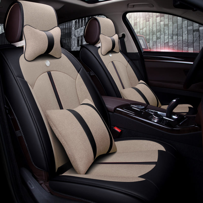 New 5D Car Seat Cover,Universal Seat Cushion,Senior Leather,flax Car pad,for Honda Accord Civic CRV Crosstour Fit City HRV