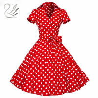 ZAFUL Woman Retro Dresses 2017 Audrey Hepburn 1950s 60s Rockabilly Polka Dot Bow Pinup Ball Grown