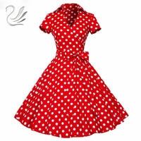 Vrouw Retro Jurken 2017 Audrey Hepburn 1950 s 60 s Rockabilly Stipboog Pinup Ball Grown Party Gewaad Plus Size Vestidos