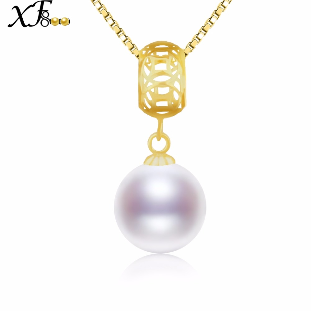 XF800 18K Yellow Gold Pearl Necklace Pendant Natural freshwater 9-10mm Round Fine Jewlery Wedding Party Gift For Women D226 yoursfs heart necklace for mother s day with round austria crystal gift 18k white gold plated