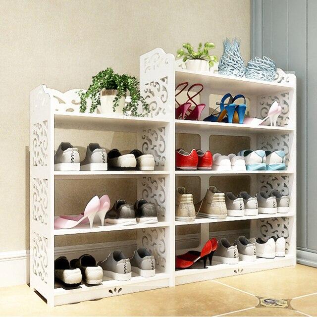 European Hollow White Shoe Rack Simple Multi Layer Dustproof Large Capacity Shoes Storage