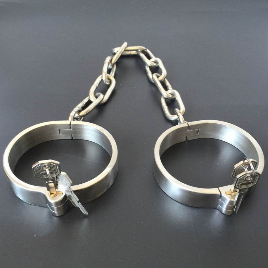 New Stainless Steel Leg irons Ankle Cuffs Metal Bondage Restraints Shackles Sex Games Products For Adults Slave BDSM Fetish Toys stainless steel leg irons long chain ankle cuffs sex products bdsm bondage restraints sex slave shackles sex toys for couples