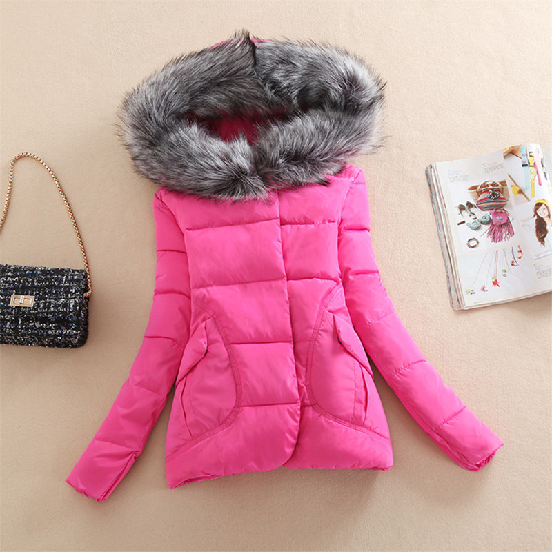 ФОТО New Winter Jacket Women Fur Hood Cotton Padded Coat Parkas For Women Winter Abrigos Mujer Jaqueta Feminina WWF28