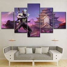 Japanese Game Building Landscape Abd Swordsmen Genji Painting On Canvas Print Type Modern Unique Gift Wall Decor 5 Piece Poster