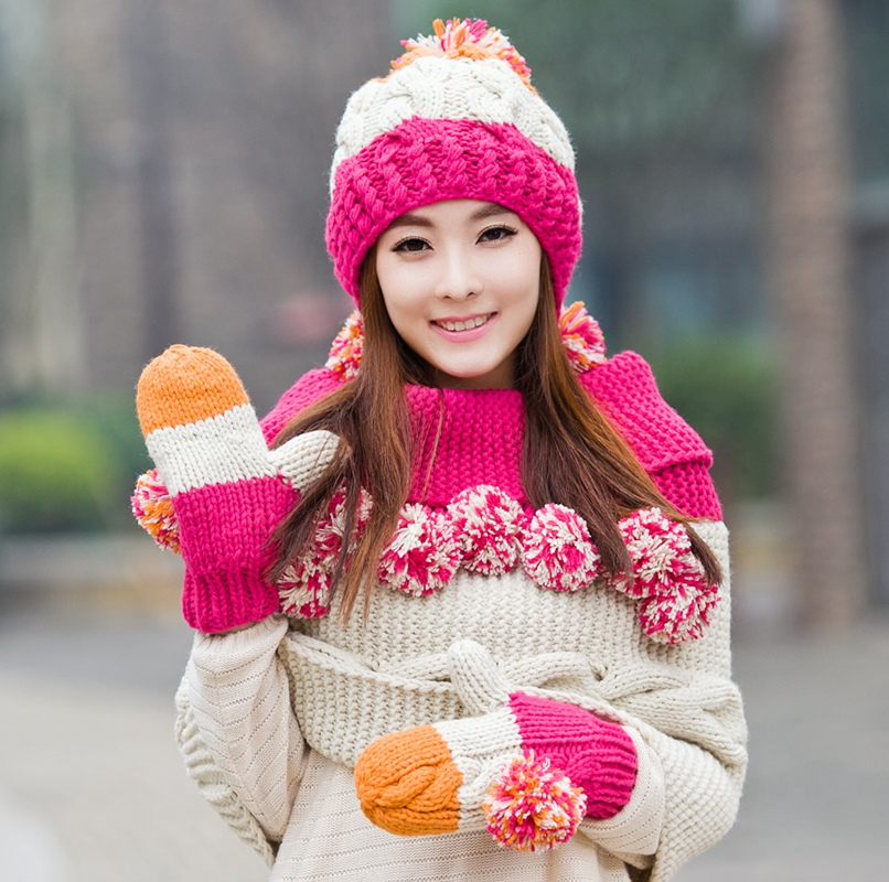 Hat scarf gloves three pieces set female winter one piece muffler scarf cape knitted christmas birthday gift simplicity wholesale 2pr set knitted touchscreen gloves