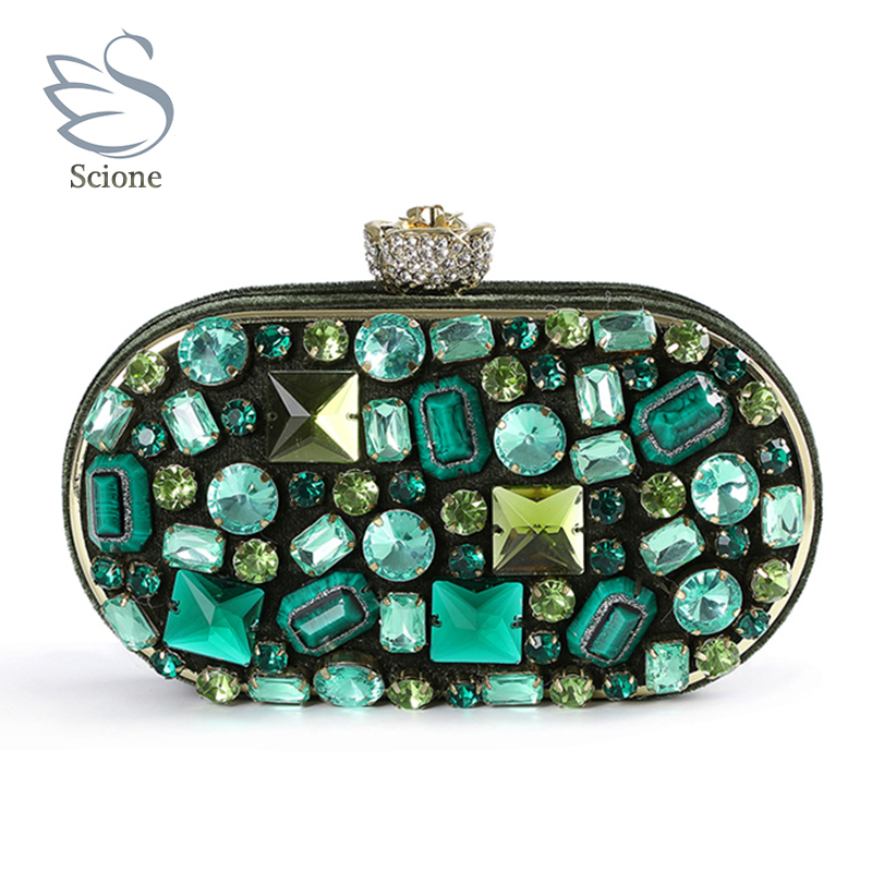2018 fashion handmade women emerald green gem handbags female diamond crystal evening bags wedding party gold cluthes bag 845t