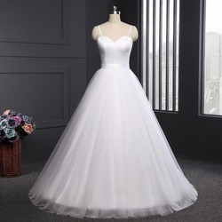 LORIE Spaghetti Strap Beach Wedding Dresses 2019 Vestido Noiva Praia Simple White Tulle Casamento Sashes Bridal Gown Custom made 5