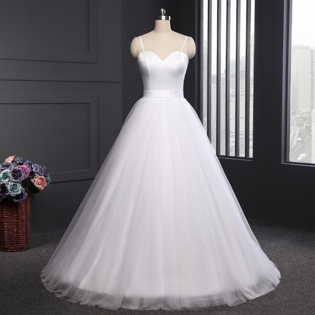 Spaghetti Strap Beach Wedding Dresses Vestido Noiva Praia Simple White Tulle Casamento Sashes Bridal Gown Custom Made