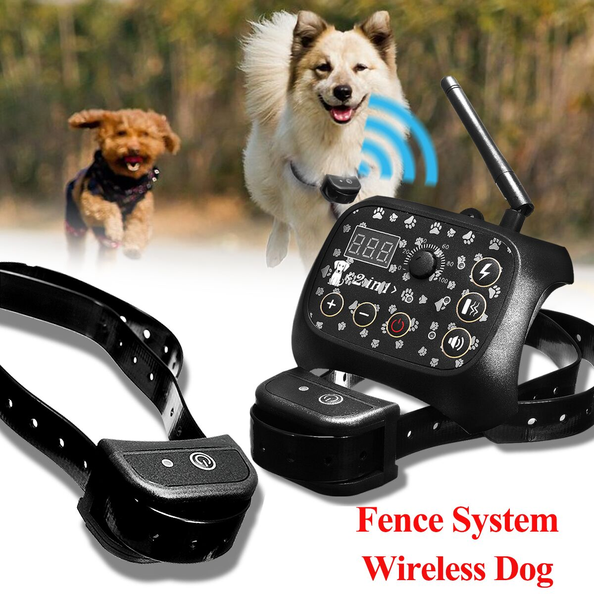 Underground Waterproof Wireless Training Collar Indoor Pet Electric Fencing Safety Dog Transmitter For 2dogs Remote Control pet safe electronic shock vibrating dog training collar with remote control 2 x aaa 1 x 6f22 9v