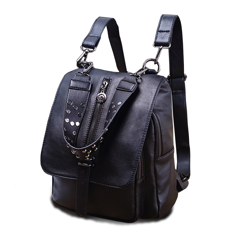 ФОТО Rivet Design Women Backpack Girls Washed Leather Preppy Style School Backpacks for Teenage Women Travel Bag Black Back Sac A Dos