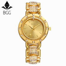 BGG Brand Women steel dress watches ladies Luxury simple Casual quartz watch relogio feminino female rhinestone gold clock hours