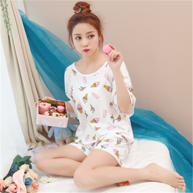 PJ   Set   New Women   Pajamas     Sets   Spring Summer New Thin Cartoon Printed Short Sleeve Cute Sleepwear Casual Homewear Female Pyjamas