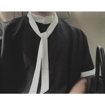 2018   Black tie style short - sleeved and simple Korean black shirt.   S-6XL!!!   Large size casual shirt.