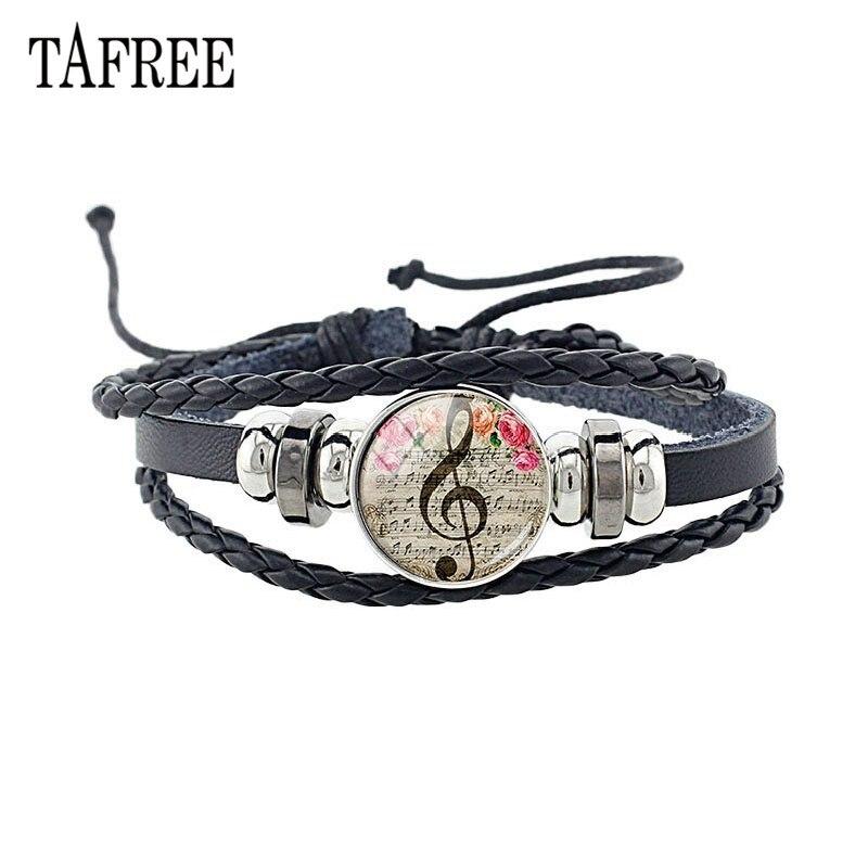 TAFREE Personalized Retro Musical Note Bracelet Glass Cabochon Rose Flowers Letter Music Symbol Bracelets Bangle Gift KC79