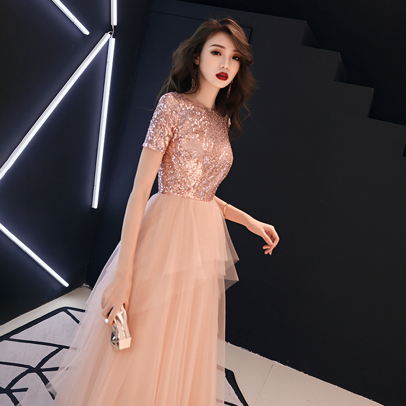 A-line   Evening     Dresses   Pink Shinig Sequined Tiered Plus Size Party Gowns Short Sleeve O-neck Zipper Long Formal Prom   Dress   E339
