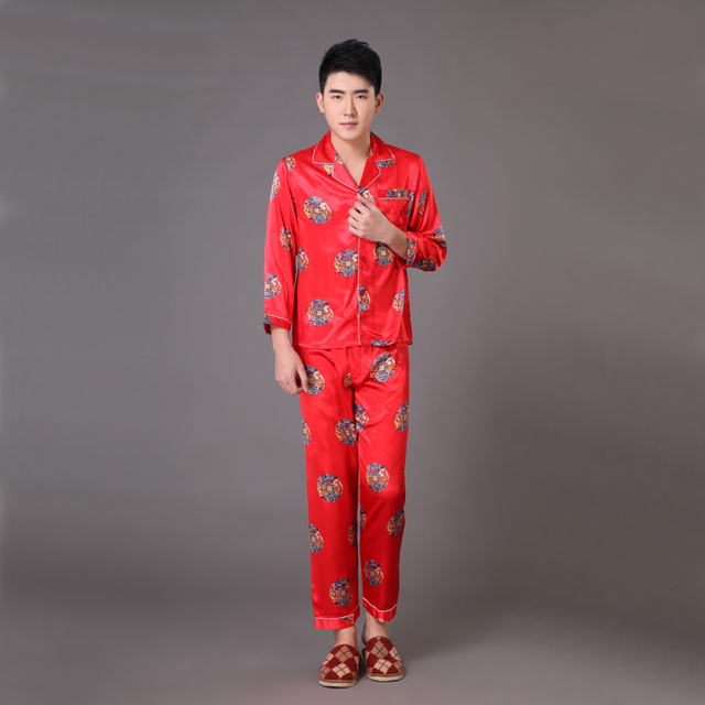 Novelty Printed Chinese Style Men Sleepwear Spring Autumn Long Sleeve Pajamas Suit Bath Gown Oversize S M L XL XXL XXXL MP010
