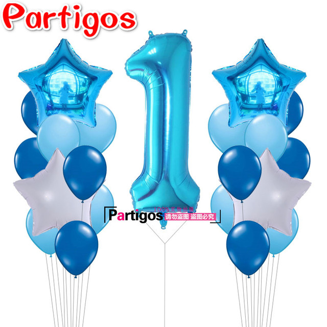21pcs 40inch Number 1 Foil Balloons Baby Shower 1st Birthday Party Decor Supplies Baby boy Girl balls 2.2g latex helium globos