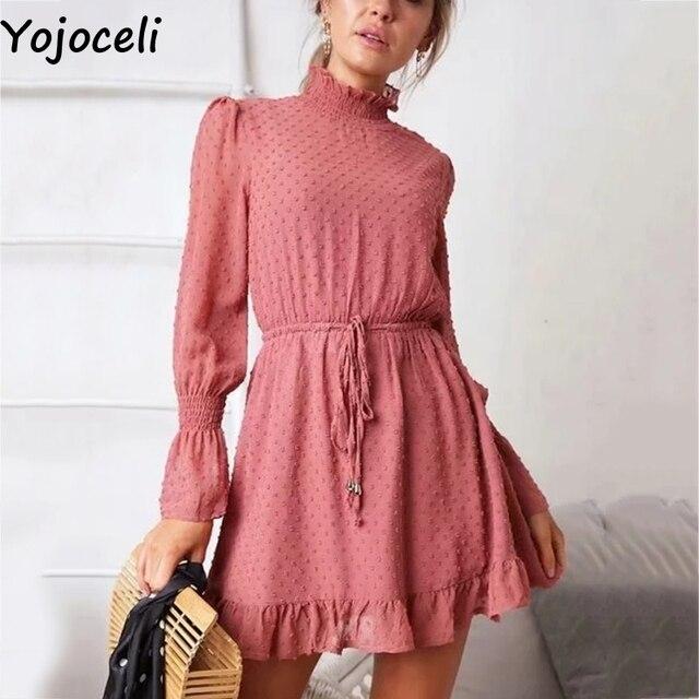 2eef0c7c27d5f Yojoceli Turtleneck ruffle short chiffon dress women Autumn winter party  elegant dress Casual daily loose smock dress vestidos