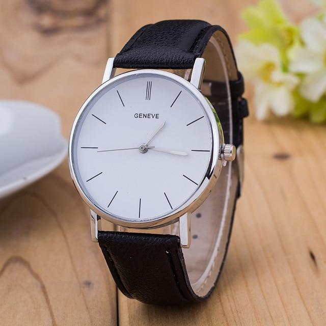 a85dd9e5164 Geneve luxo Prata Aço Inoxidável Round Dial PU Couro Quartz Negócios  Vestido Relógio de Pulso Presente