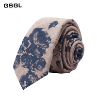 Cotton Ties for Mens Floral Printed Tie Slim Corbatas Retro Vintage Wedding Fashion Casual Tie Neckties