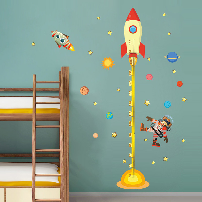 3d Spacecraft Solar System Measure Height Sticker Growth Chart Wall Stickers For Living Room Nursery Bedroom Home Decor Pvc