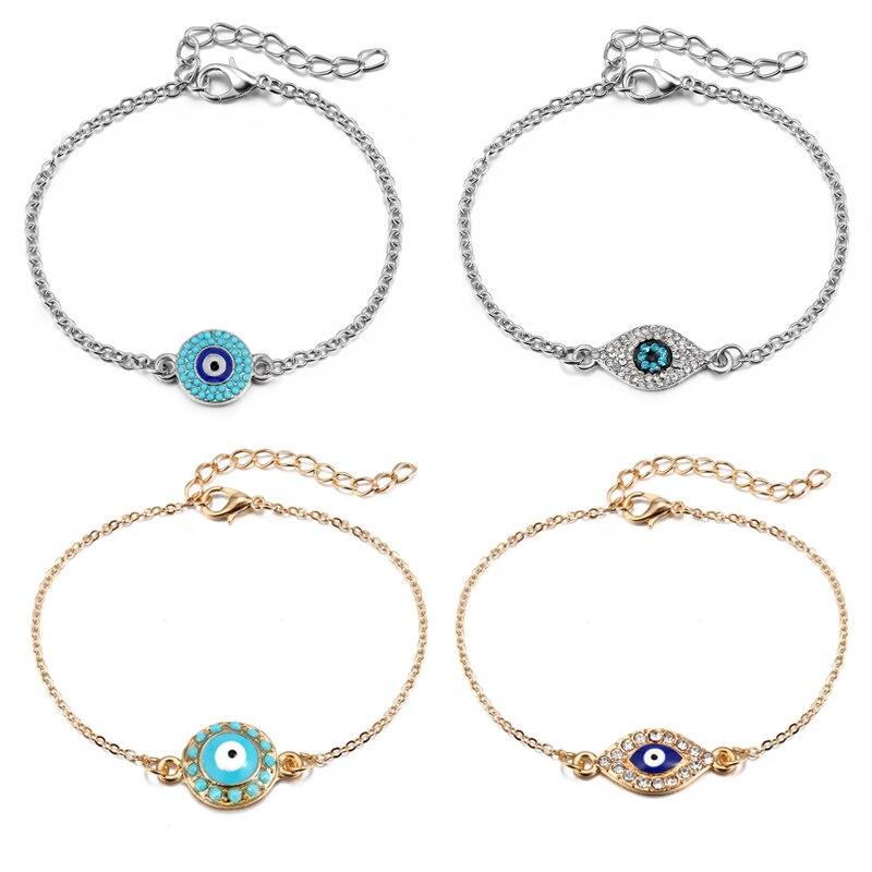 1PC Turkish Jewelry Handmade Link Chain Women Gold Silver Plated Geometric Bracelets Lucky Enamel Blue Evil Eye Bracelets B123