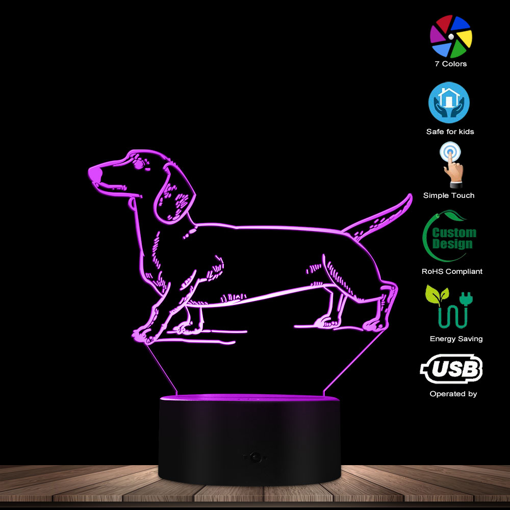 Dachshund 3D Light Sausage Dog Breed Wiener-Dog 3D Optical Illusion Night Light Animal Pet Puppy LED Night Light Table Deco Lamp