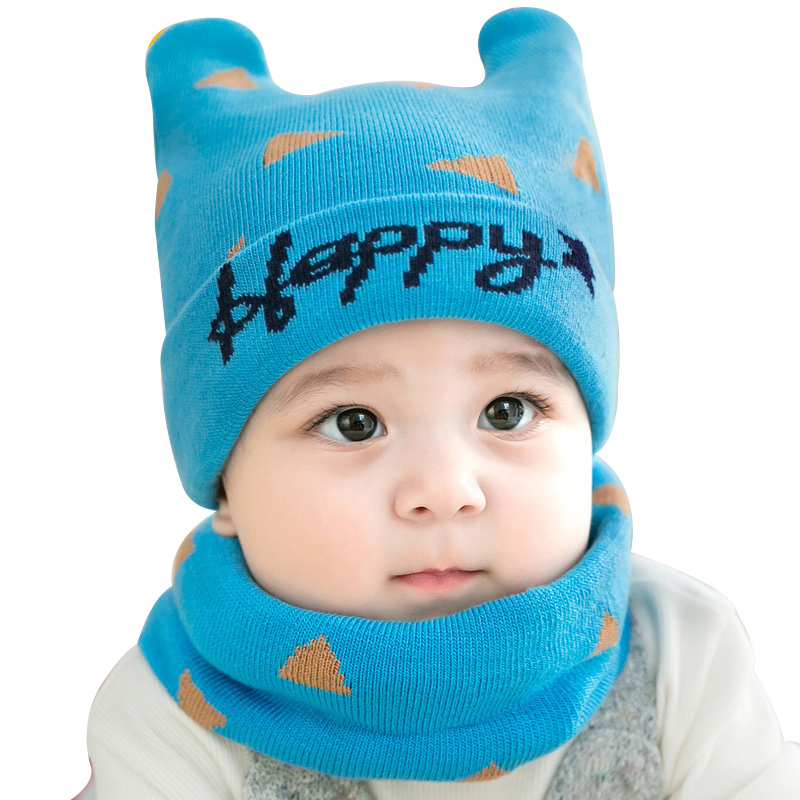 Knit Warm Baby Hat Set Bear Ears Beanie + Crochet Infant Scarf Autumn Winter Baby Hat Set Letter Print Newborn Baby Boy Clothing