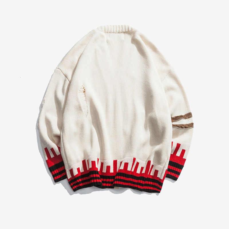 Plegie Для мужчин вязаный полосатый кардиган свитера зимой Повседневное v-образным вырезом свитер пальто мужские осенние свободные свитера куртки