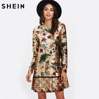 SHEIN Mixed Print Velvet Straight Dress Autumn Womens Casual Dresses Multicolor Long Sleeve Floral Tunic Dress