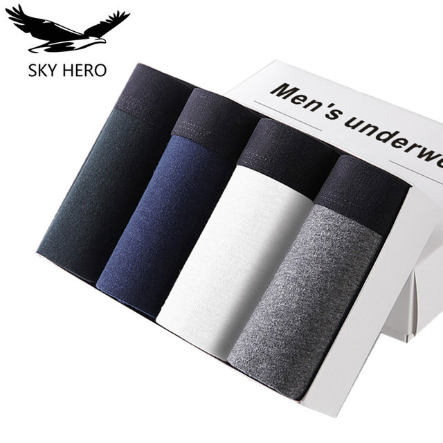 4pcs/lot SKYHERO Male Panties Cotton Men's Underwear Boxers Breathable Man Boxer Solid Underpants Comfortable Brand Shorts Jdren 1