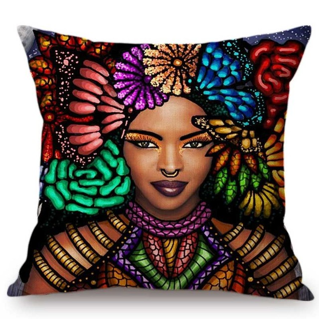 Colorful African Sofa Throw Pillow Case 1