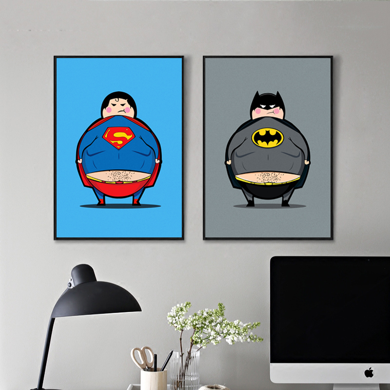 2 Heros Minions Supereroi e eroi di Batman Movie Art Print Poster Immagine della parete di Kawaii Tela Pittura Kids Room Decor