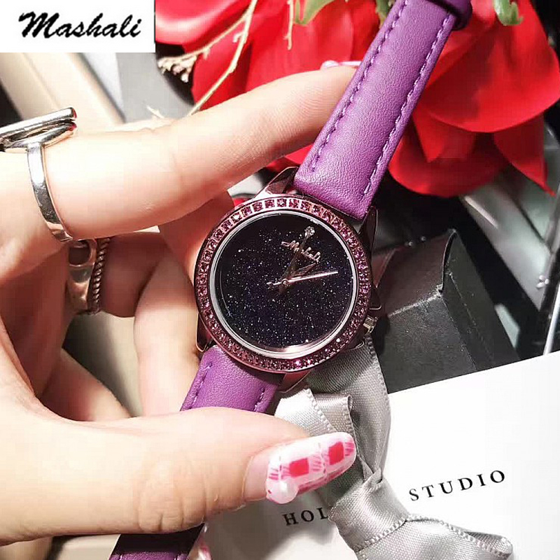 Mashali Brand 2017 New Fashion Women Quartz-Watch Rhinestone Leather Casual Dress Watches Crystal Ladies clock relogio feminino new fashion brand gold geneva casual quartz watch women crystal silicone watches relogio feminino dress ladies wristwatches hot
