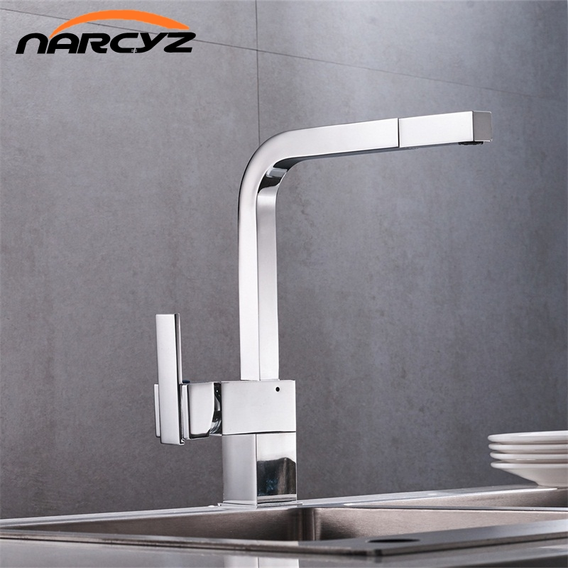 Free Shipping New chrome pull out kitchen faucet square brass sink kitchen faucets pull out kitchen