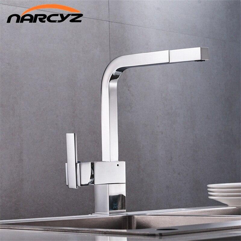 Livraison Gratuite New chrome pull out robinet de cuisine carré en laiton évier robinets de cuisine pull out robinet de cuisine XT-18