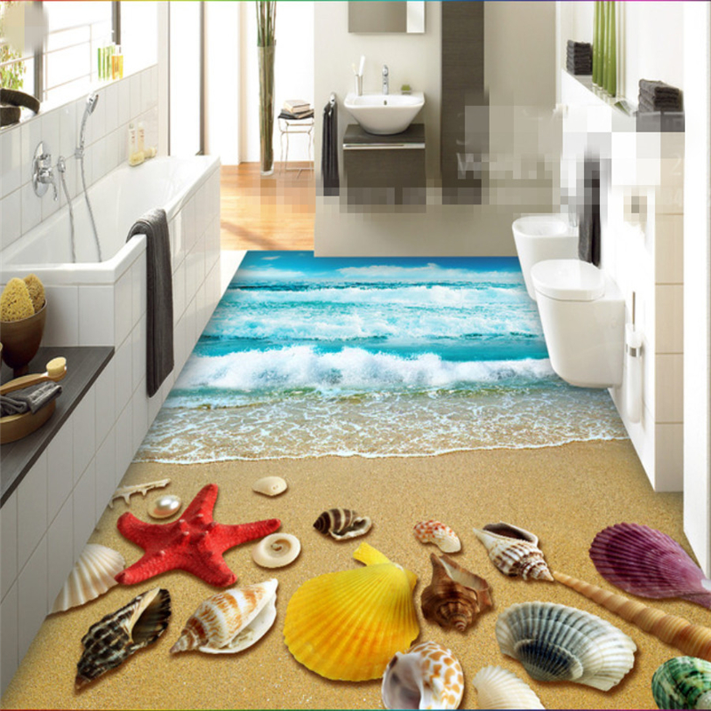 Beibehang Custom mural 3d flooring Beach Shell Starfish Bathroom Restaurant 3D floor tiles High quality photo wallpaper behang beibehang custom photo floor painted
