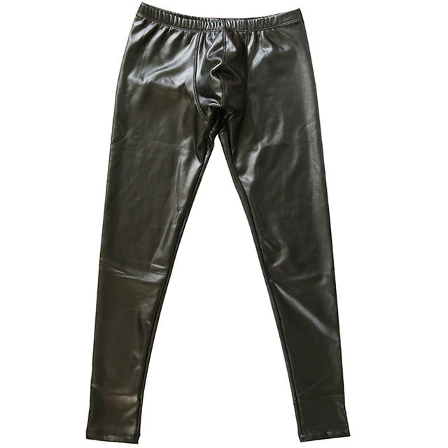 Looch low waist male long johns plus velvet thickening warm pants sexy elastic PU legging tight