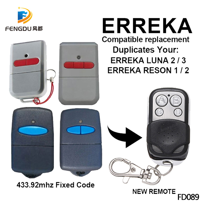 5PCS ERREKA LUNA ERREKA RESON compatible electric <font><b>gates</b></font> <font><b>remote</b></font> controls <font><b>for</b></font> command garage barrier fixed code key fod 433.92Mhz image