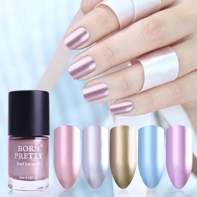 BORN PRETTY 9ml Mirror Effect Nail Polish Metallic Lacquer Metal ...