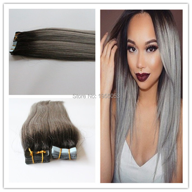 Silver Grey Hair Extension Ombre Tape In Humanhair Extensions 40pcs