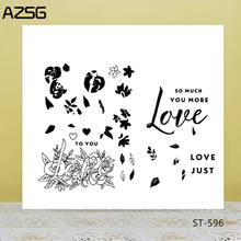 AZSG Rose Flowers Leaves Love Clear Stamps/Seals For DIY Scrapbooking/Card Making/Album Decorative Silicone Stamp Craft