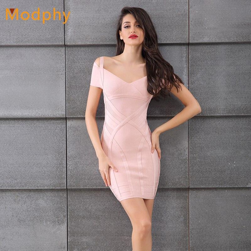 Sexy hiver robe femmes sans manches col en v partie mini spaghetti sangle célébrité moulante rose bandage robe en gros HL109