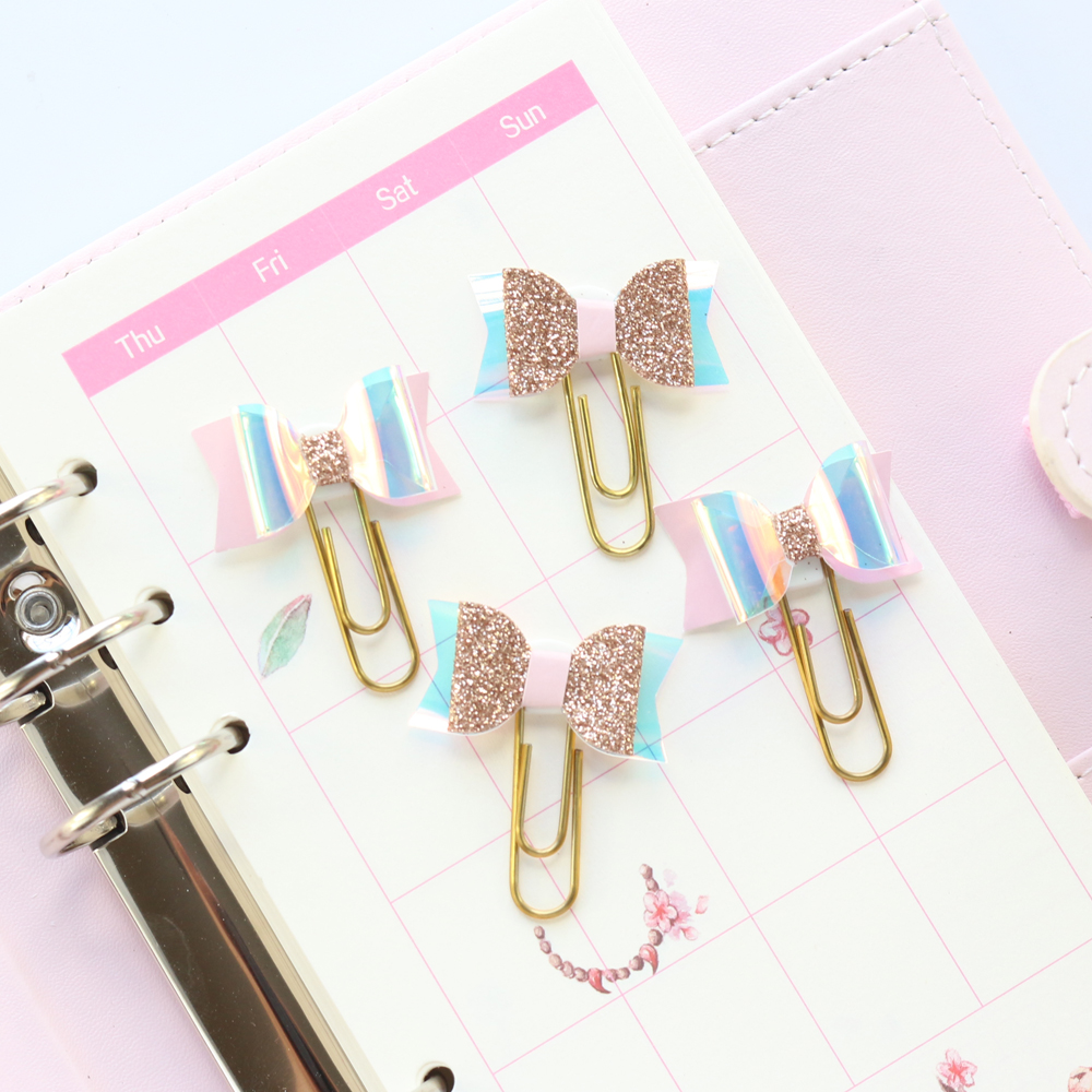 Domikee Original Creative Laser Bow-knot Design Office School Paper Clips Set Stationery,kawaii Student Bookmark Clips Set,4pcs
