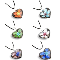 Women S Slap Up Heart Flower Lampwork Art Glass Beaded Pendant Necklace Main Color All 6