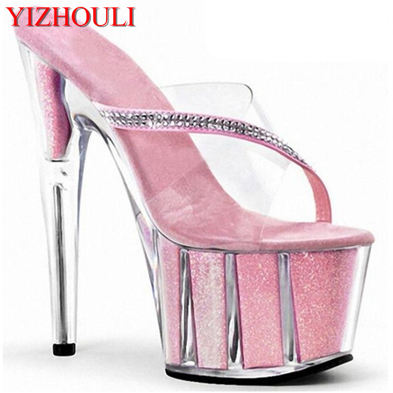 15cm high heel shoes crystal heels star pink sexy shoes 6 inch Platform Sandal with Rhinestone Straps fashion crystal slippers